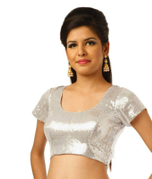 9rasa Silver Short Sleeves Georgette Stitched Saree Blouse