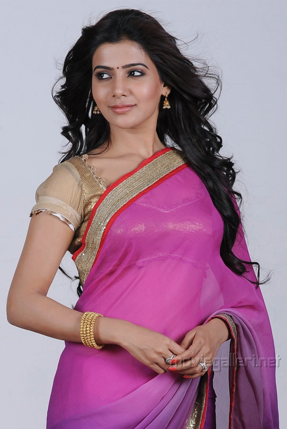 Actress Samantha Photoshoot Stills in Violet Saree  Great