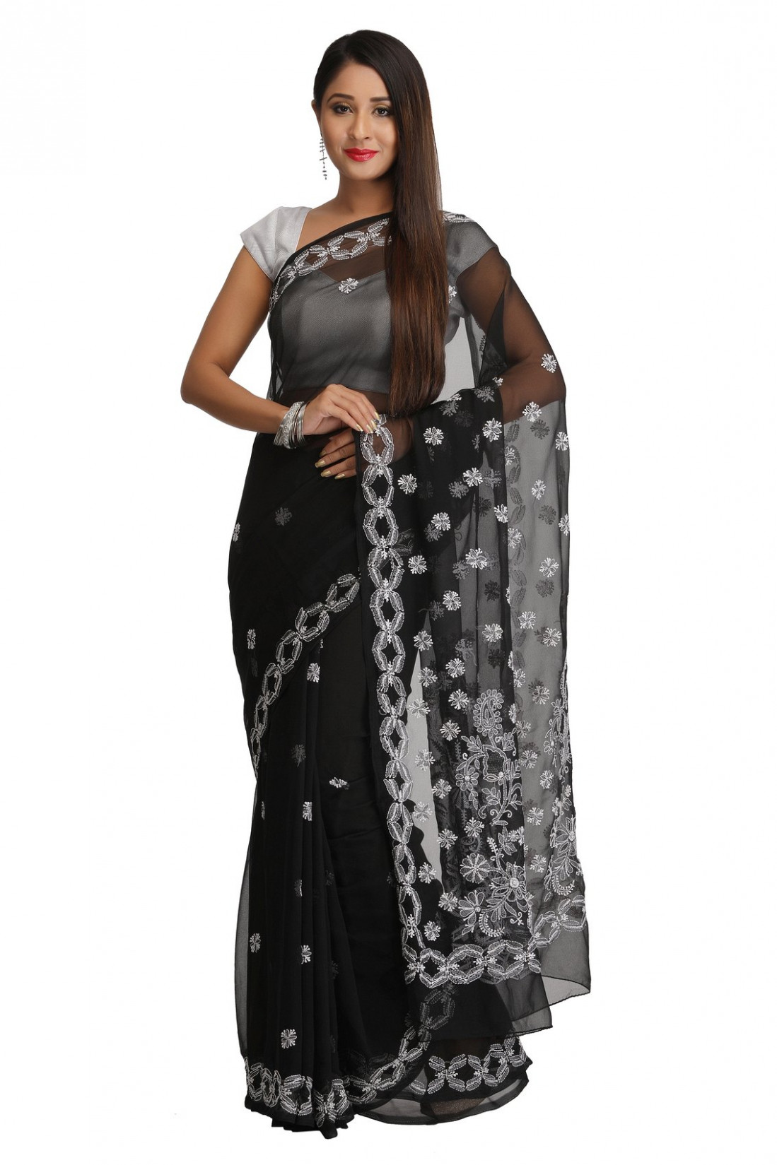 Ada Hand Embroidered Black Faux Georgette Lucknow