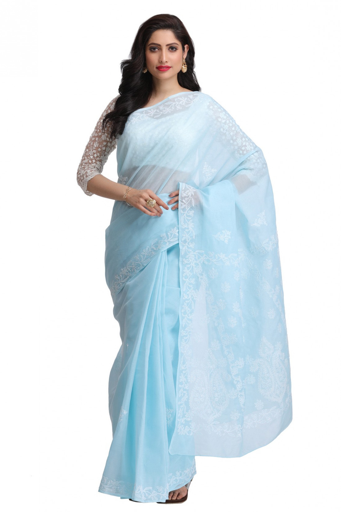 Ada Hand Embroidered Blue Cotton Lucknow Chikan Saree with