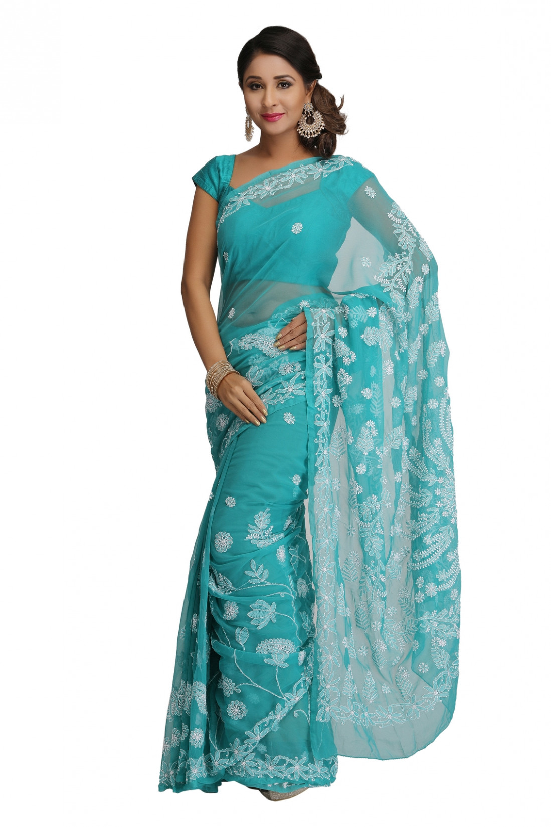 Ada Hand Embroidered Green Faux Georgette Lucknow Chikan
