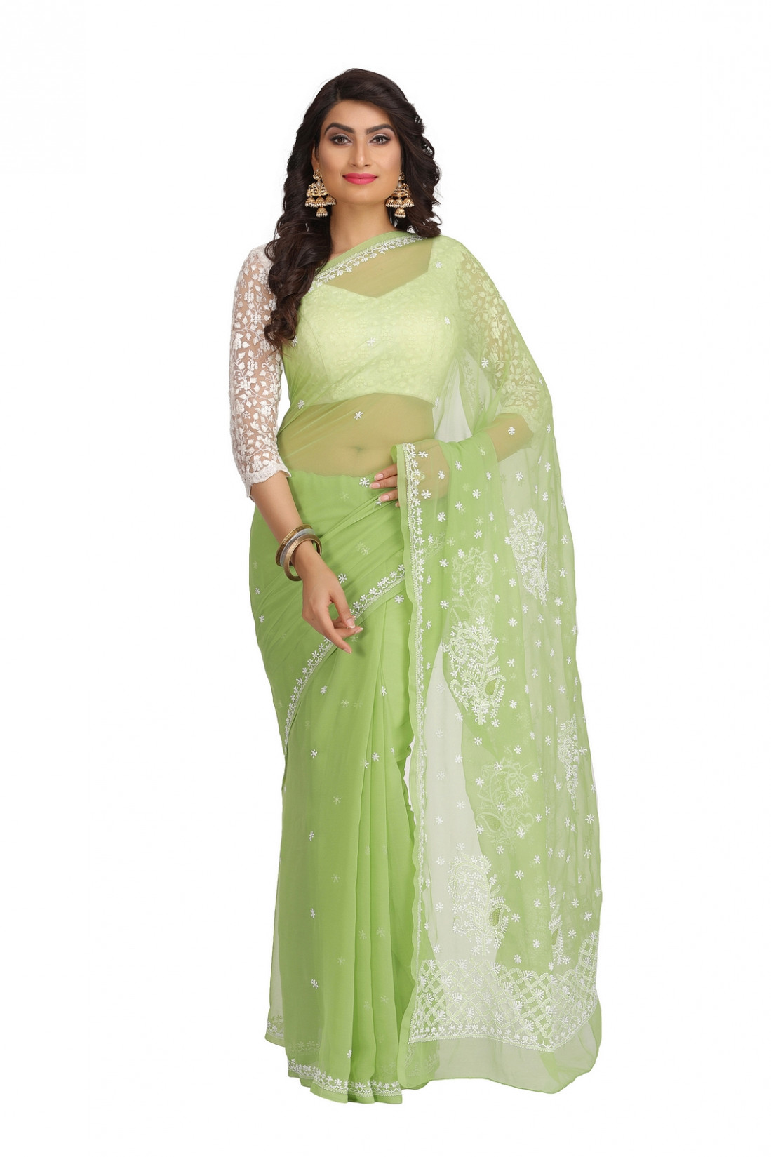 Ada Hand Embroidered Green Faux Georgette Lucknow