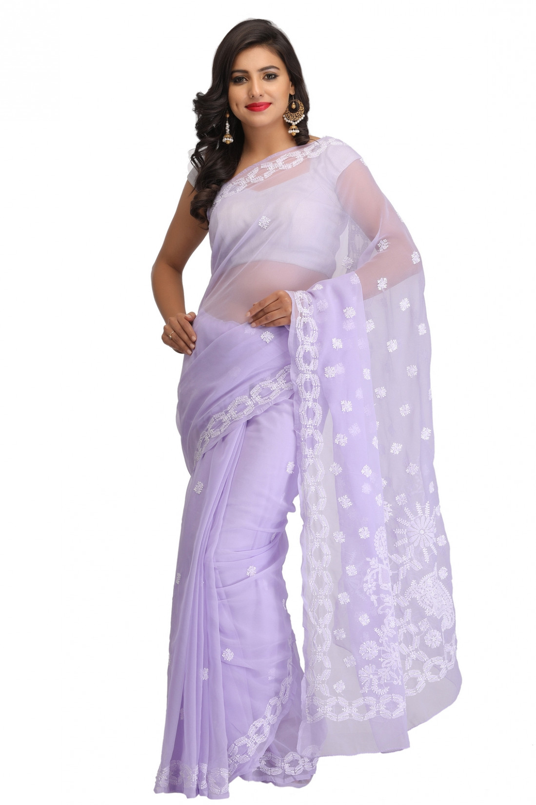 Ada Hand Embroidered Mauve Faux Georgette Lucknow Chikan