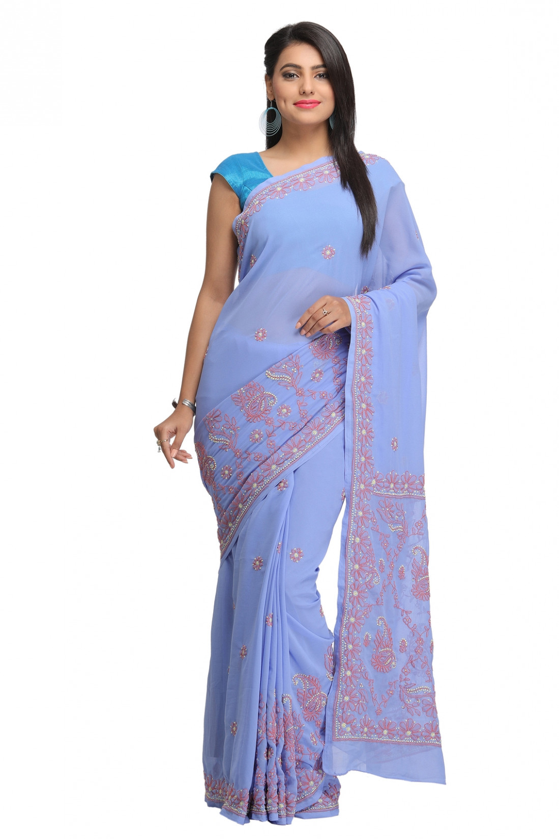 Ada Hand Embroidered Mauve Faux Georgette Lucknowi