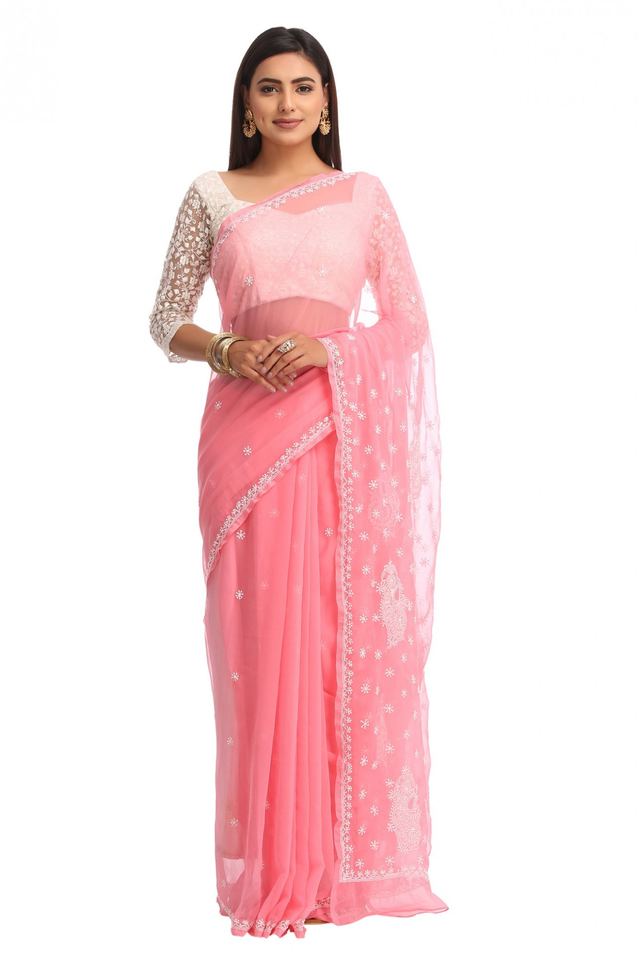 Ada Hand Embroidered Peach Faux Georgette Lucknow Chikan  - chikan saree
