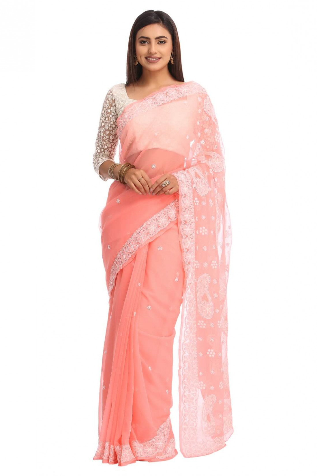 Ada Hand Embroidered Peach Faux Georgette Lucknow