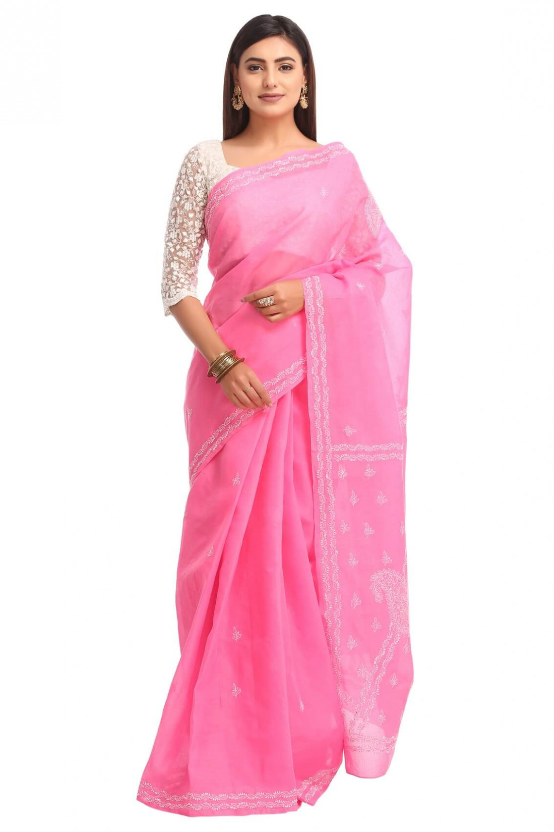 Ada Hand Embroidered Pink Cotton Lucknow Chikan Saree With