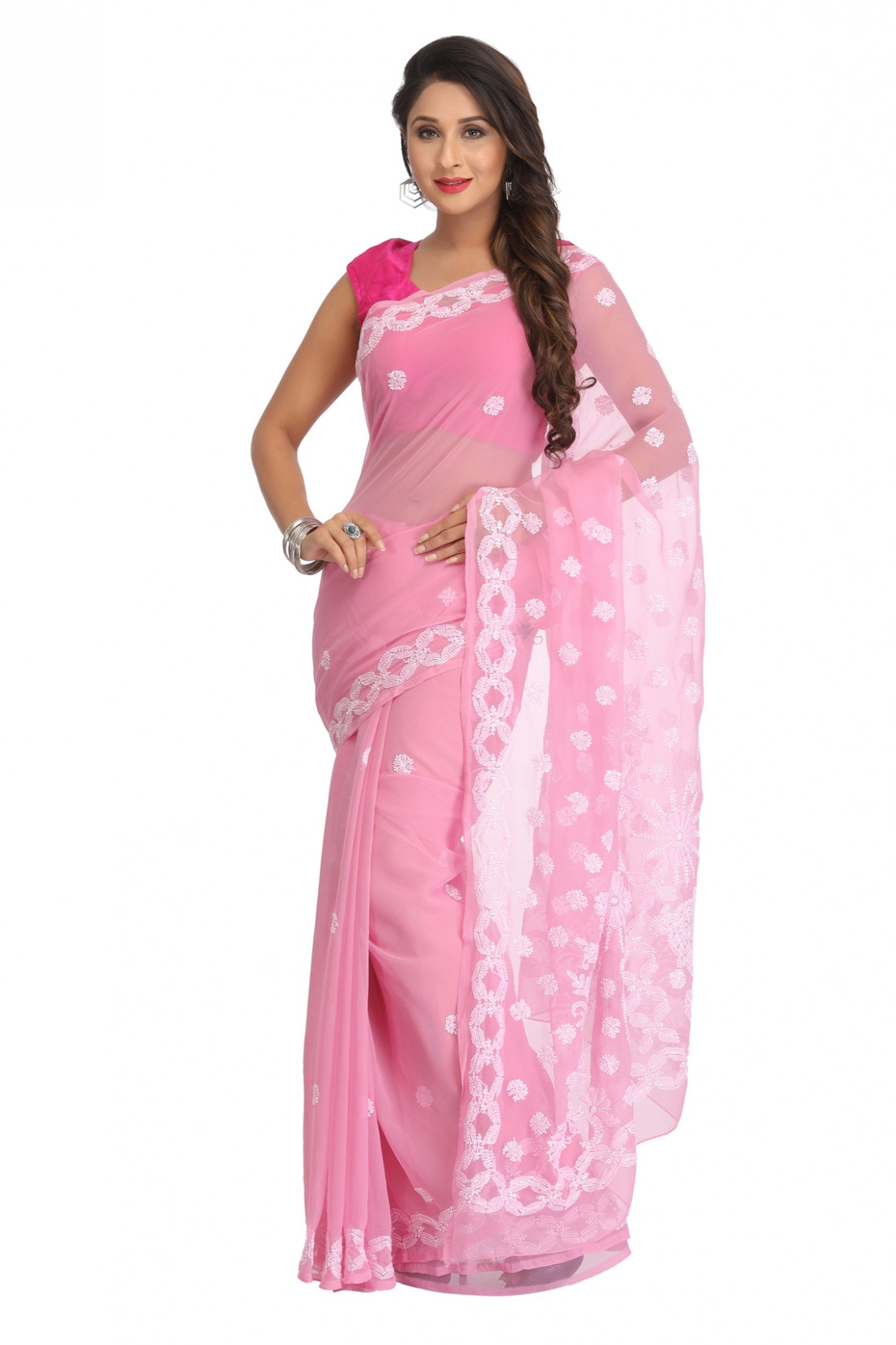 Ada Hand Embroidered Pink Faux Georgette Lucknow Chikan