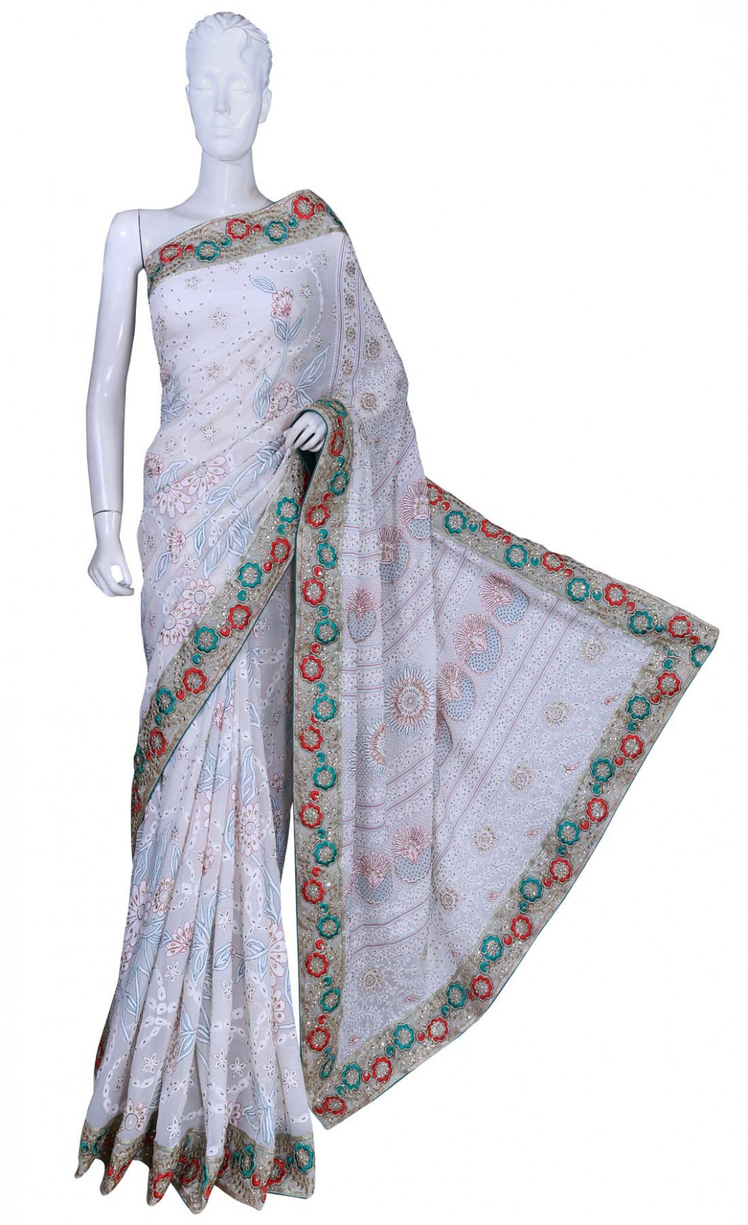 Ada Hand Embroidered White Pure Georgette Lucknowi