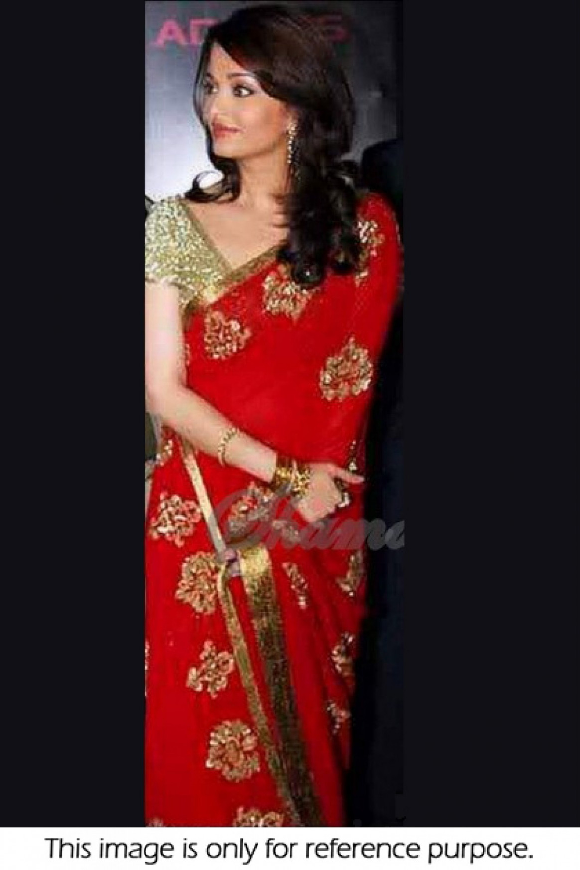 Aishwarya Rai Georgette Party Wear Saree In Red Colour
