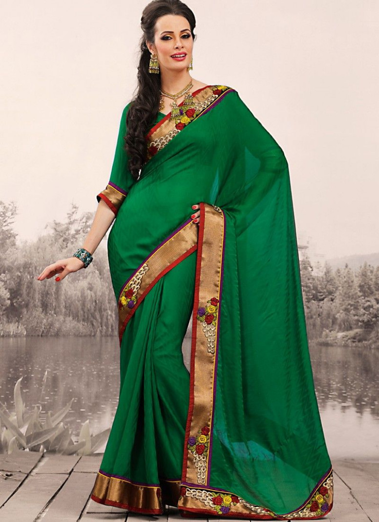 Alluring Bottle Green Embroidered Saree