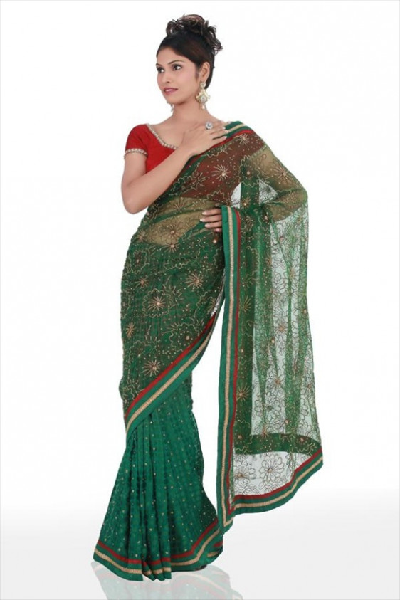 Amazon Forest Spring Green Net Sarees  Latest Fashion