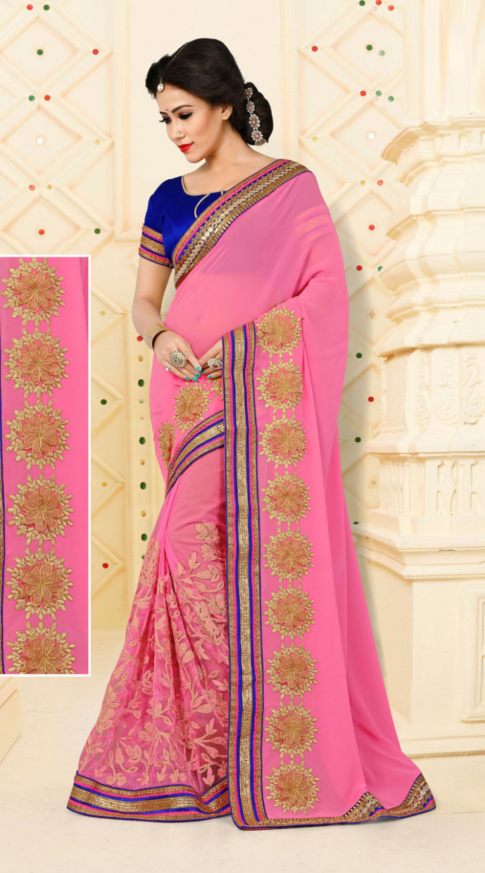 Amusing Floral Work Pink Saree With Blouse VB11106D29