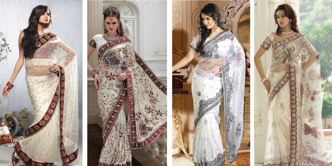 An Expression of Purity & Beauty – White Bridal Saree