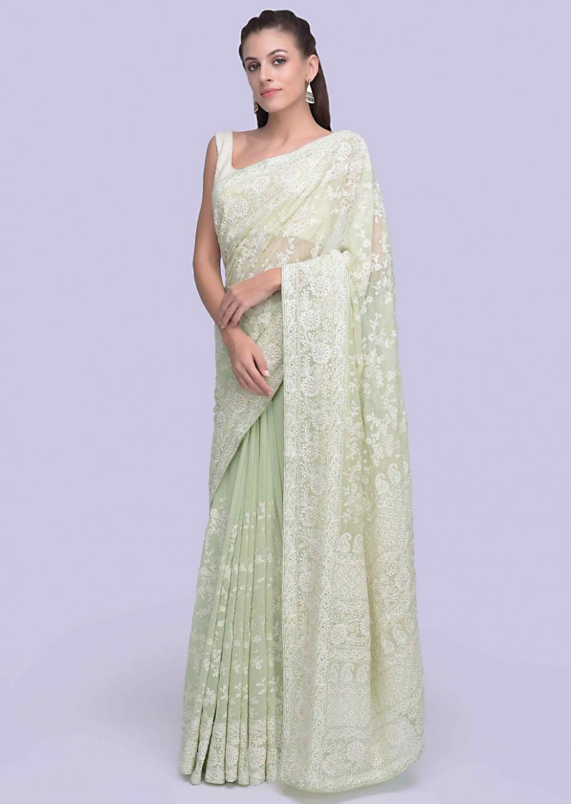 Apple green lucknowi embroidered georgette saree in