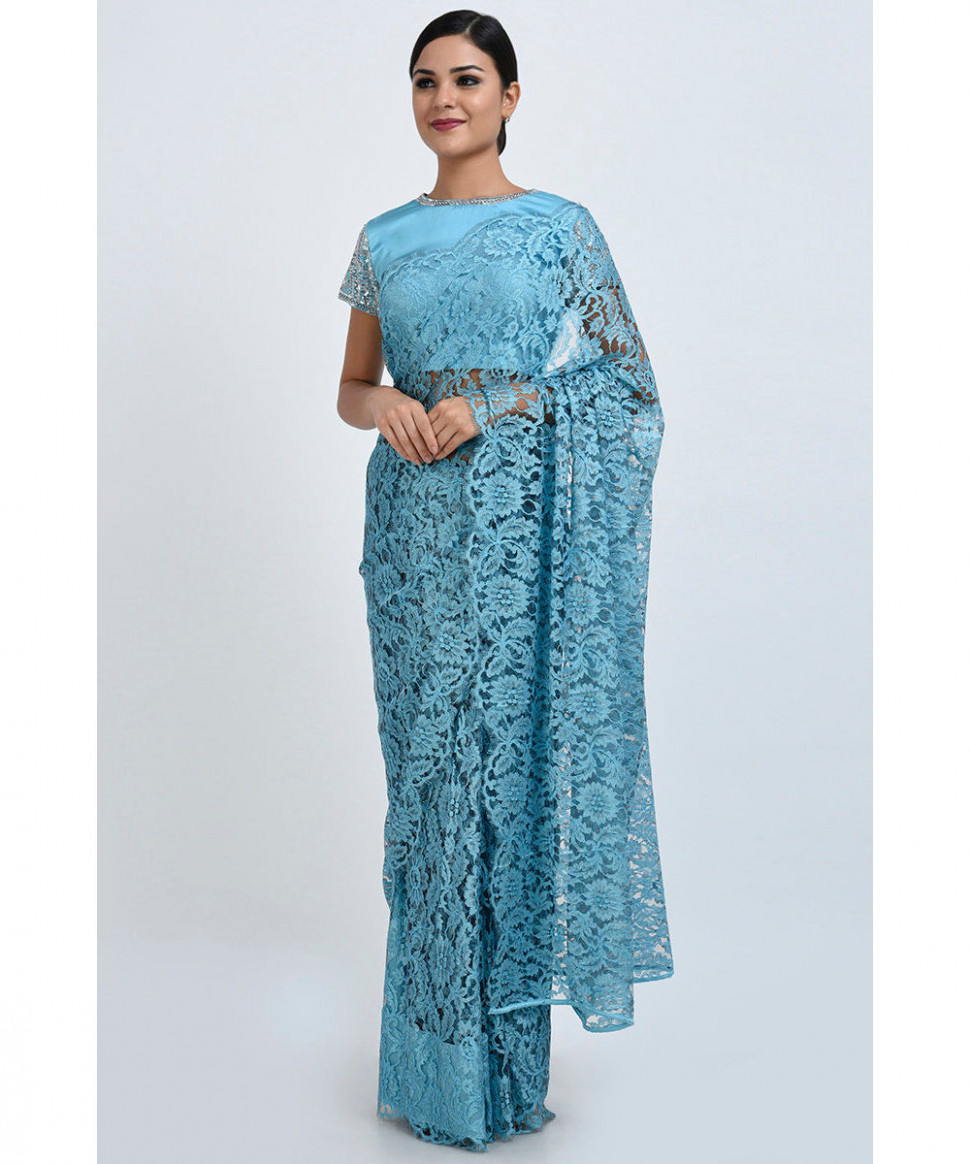 Aqua French Chantilly Lace Saree With Embroidered Blouse