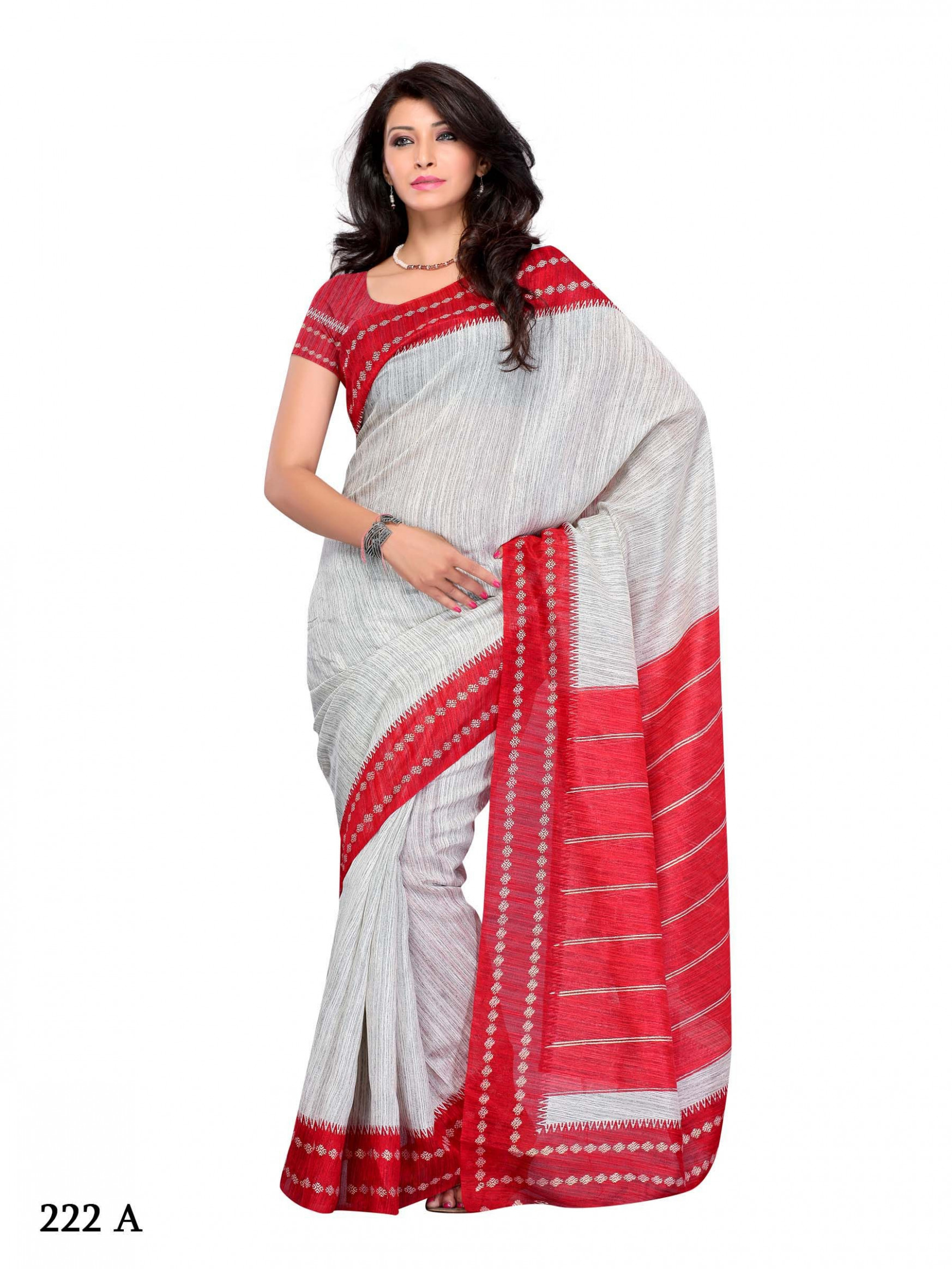Art Silk white saree with red border and unstitched blouse
