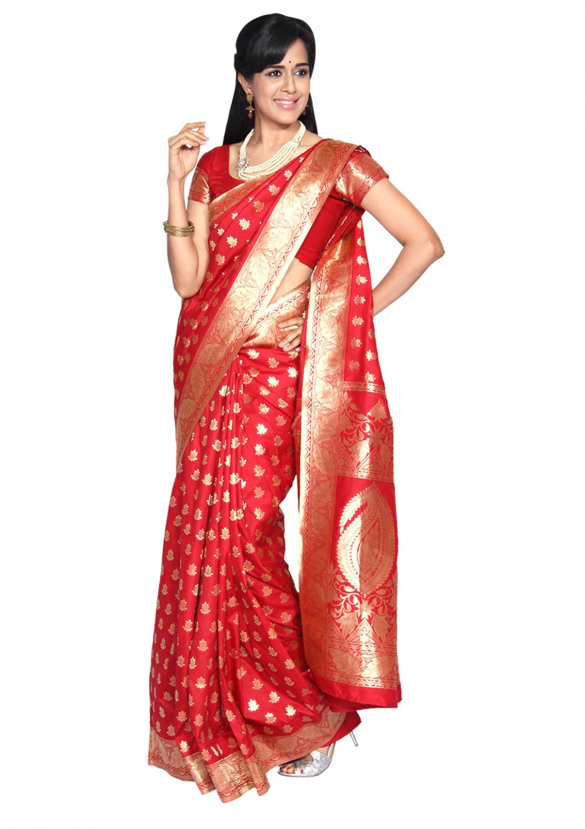 Arundathi Red Banarasi Silk Saree