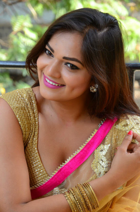Ashwini Cleavage in Yellow Saree - South Indian Actress