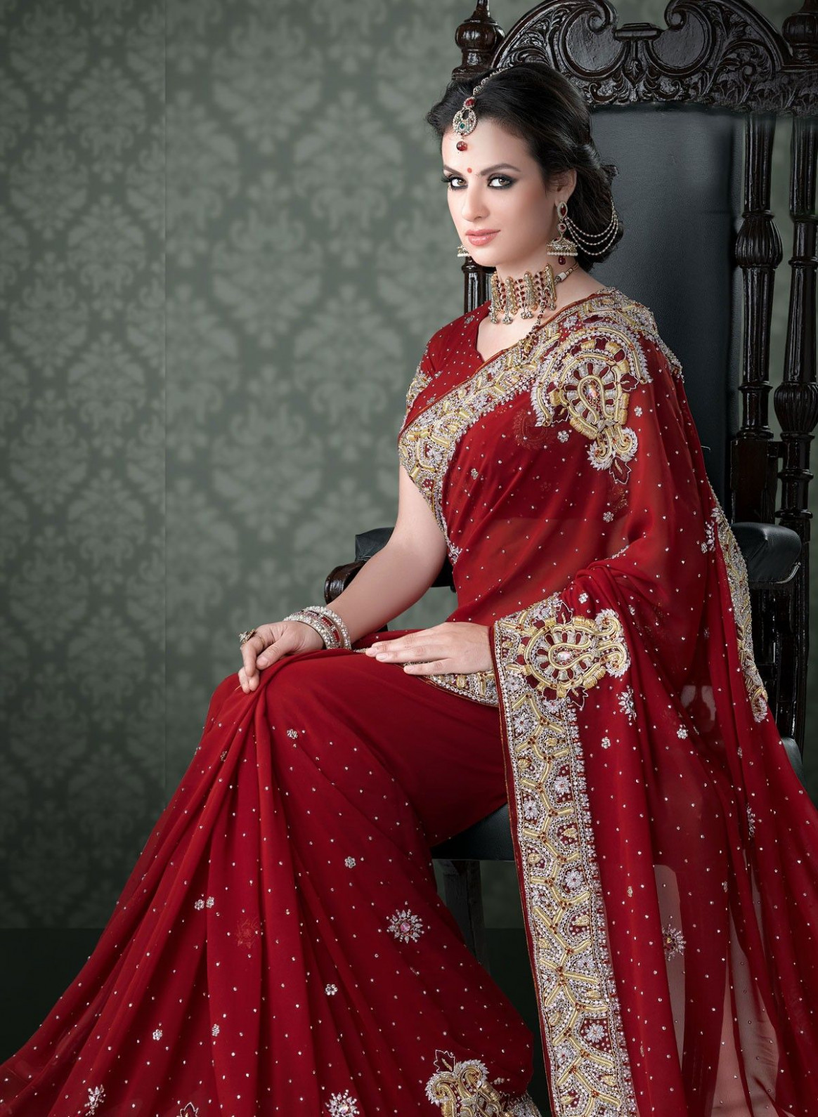 Attractive Look Red Colored Beautiful #Bridal #Saree