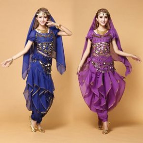 AU Bollywood Belly Dance Costume set Top+Pants+Belt +Veil