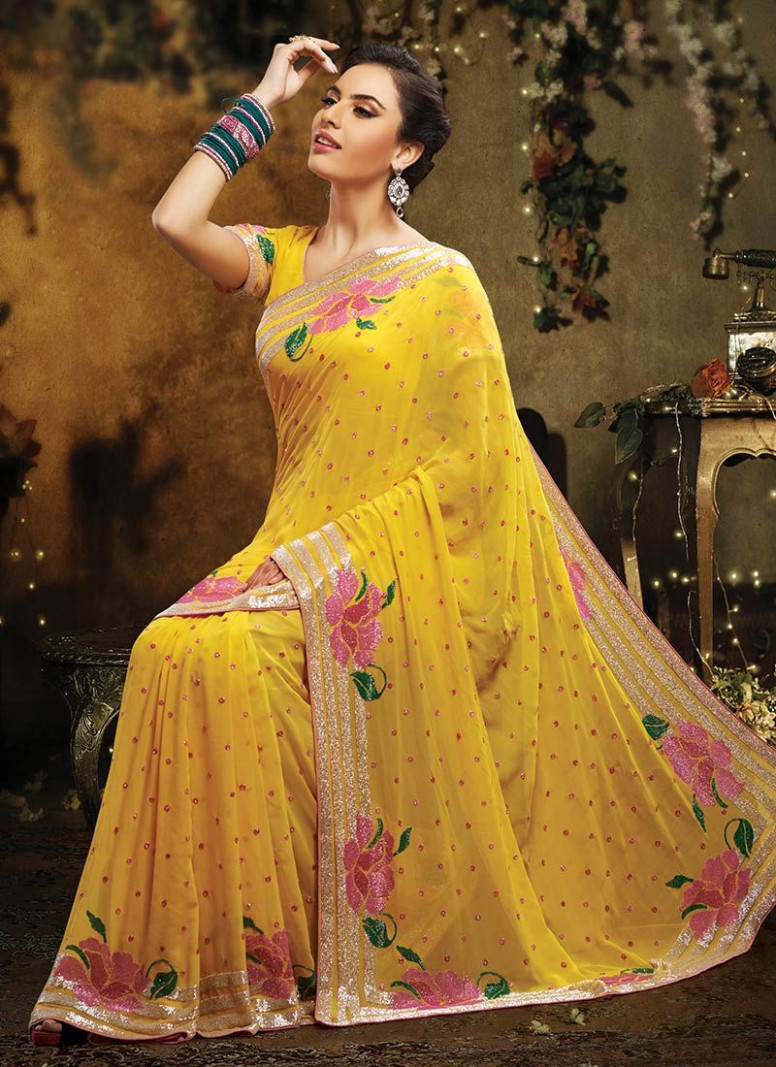 Awesome Yellow Zari Work Pure Georgette Saree