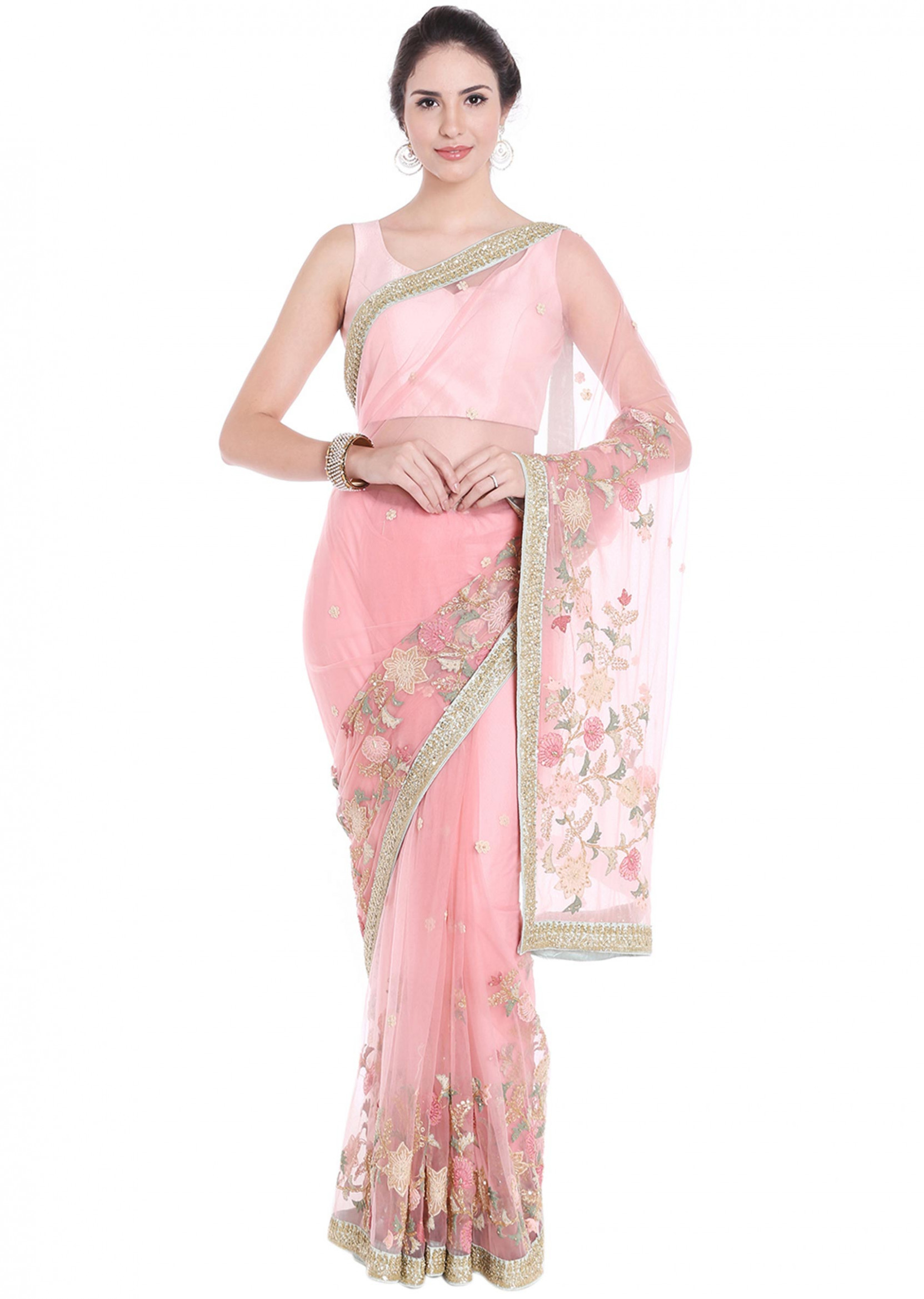 Baby pink net saree adorn in thread floral jaal motif