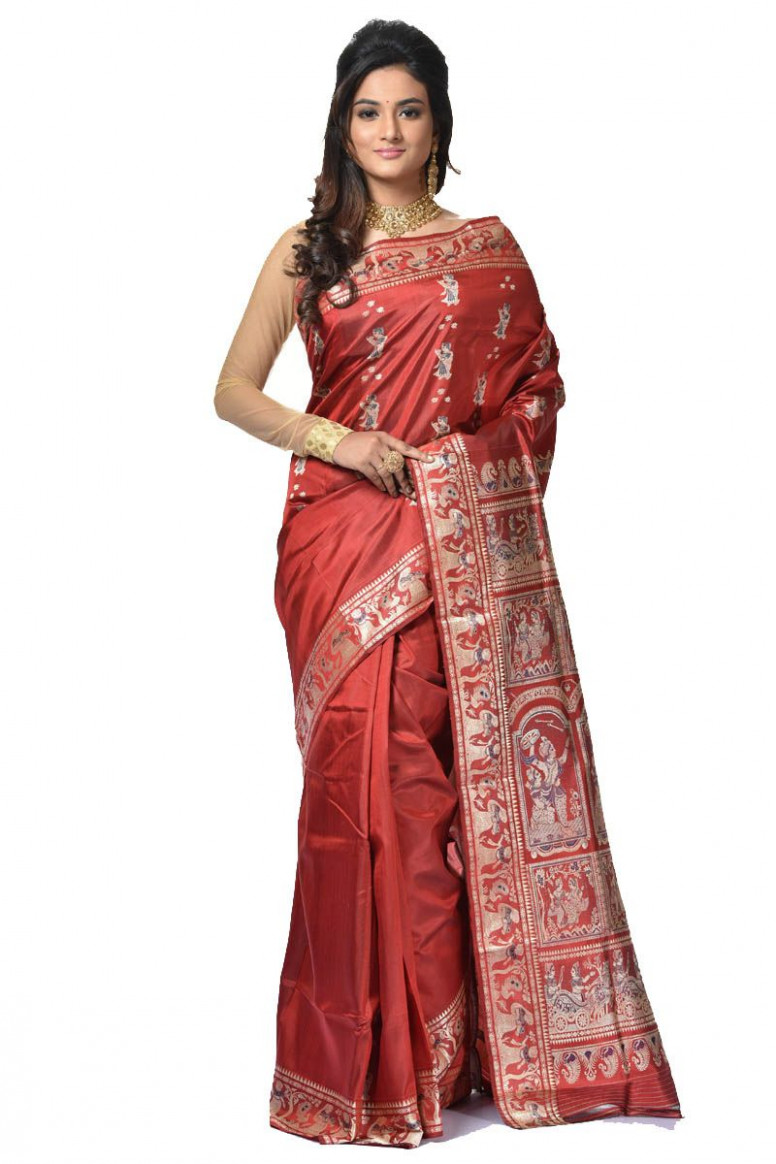 Baluchari Silk Saree (adi32927) - baluchari silk saree
