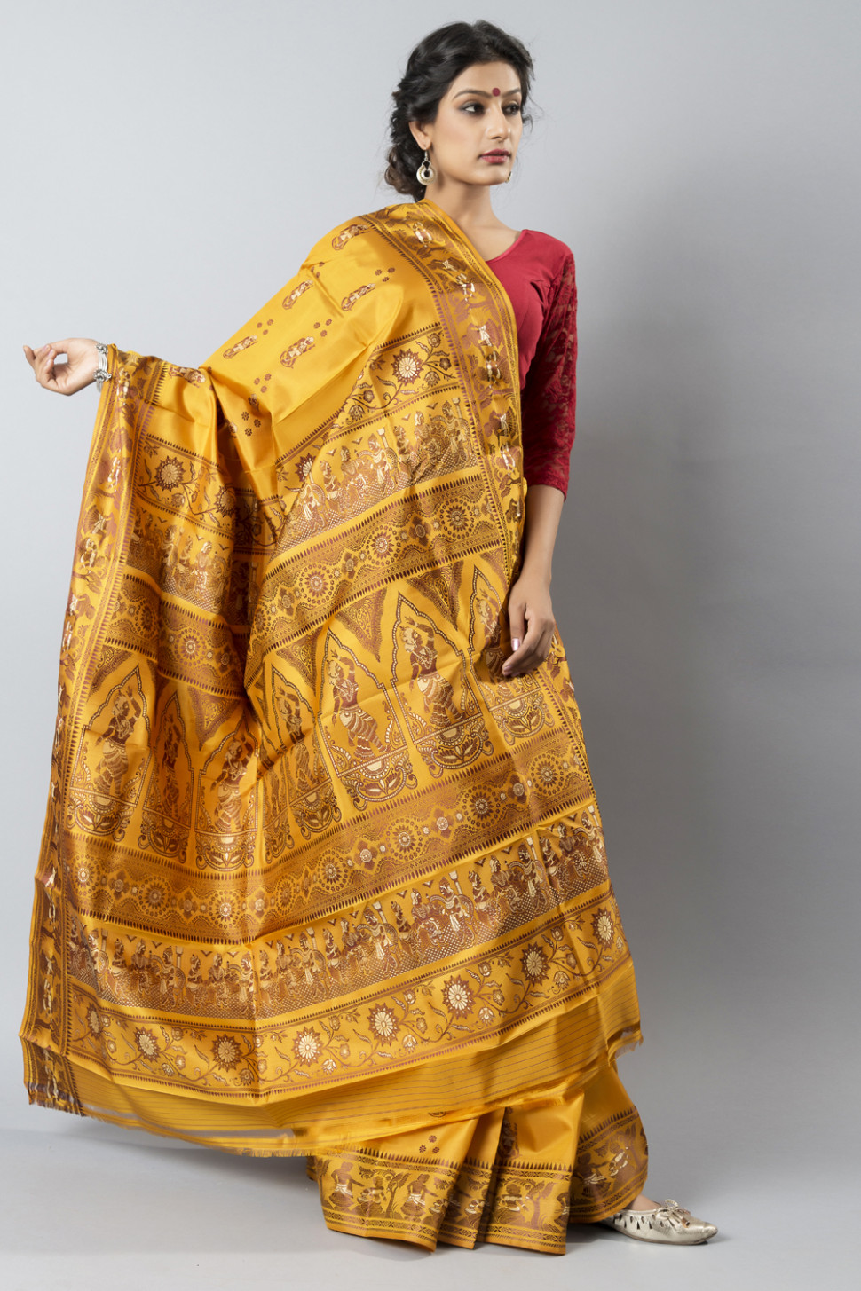 Baluchari Silk  Waltz into any room wearing this stunning