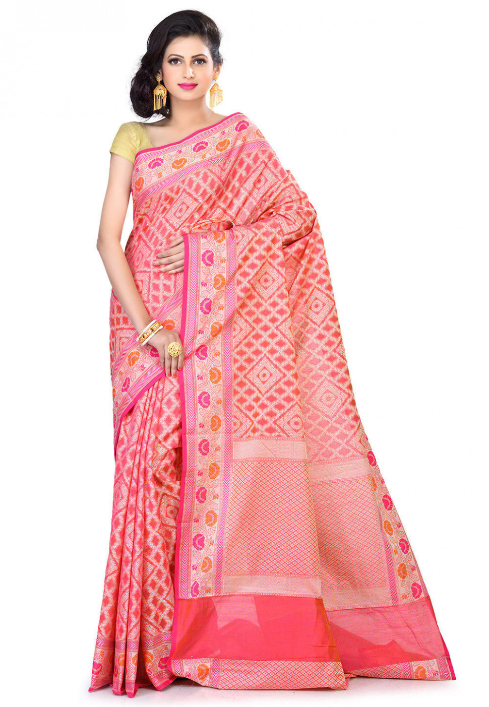 Banarasi Chanderi Silk Saree in Pink : SFKA2142
