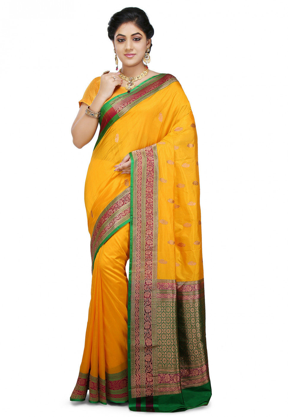 Banarasi Pure Cotton Silk Handloom Saree in Yellow : SWZ173
