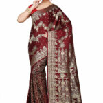 Banarasi Pure Silk Handloom Saree in Maroon : SNEA437