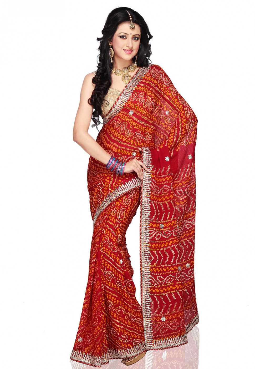 Bandhani Pure Chinon Crepe Saree in Red : SJN5495