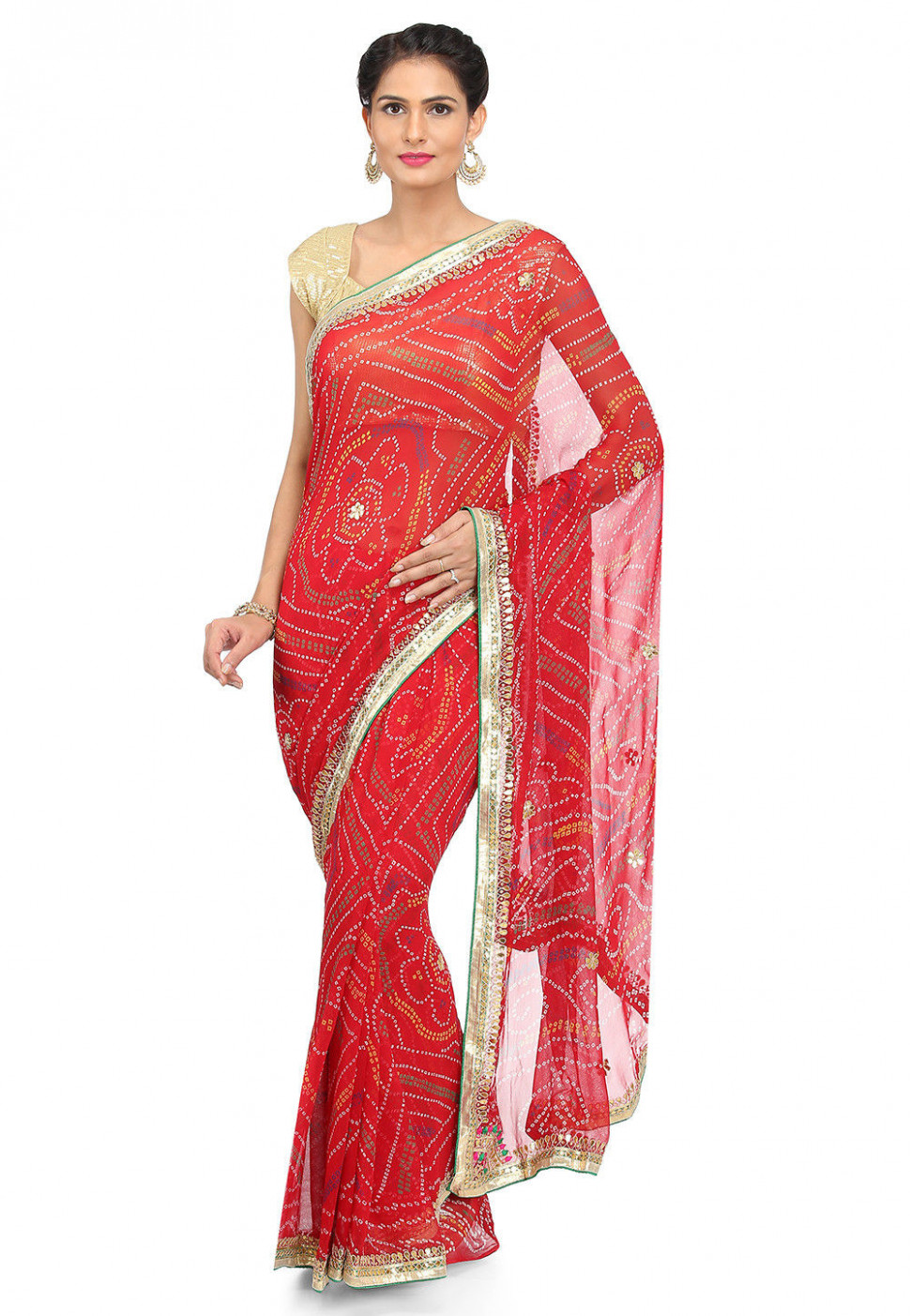 Bandhej Georgette Saree in Red : SJN7190 - bandhej saree