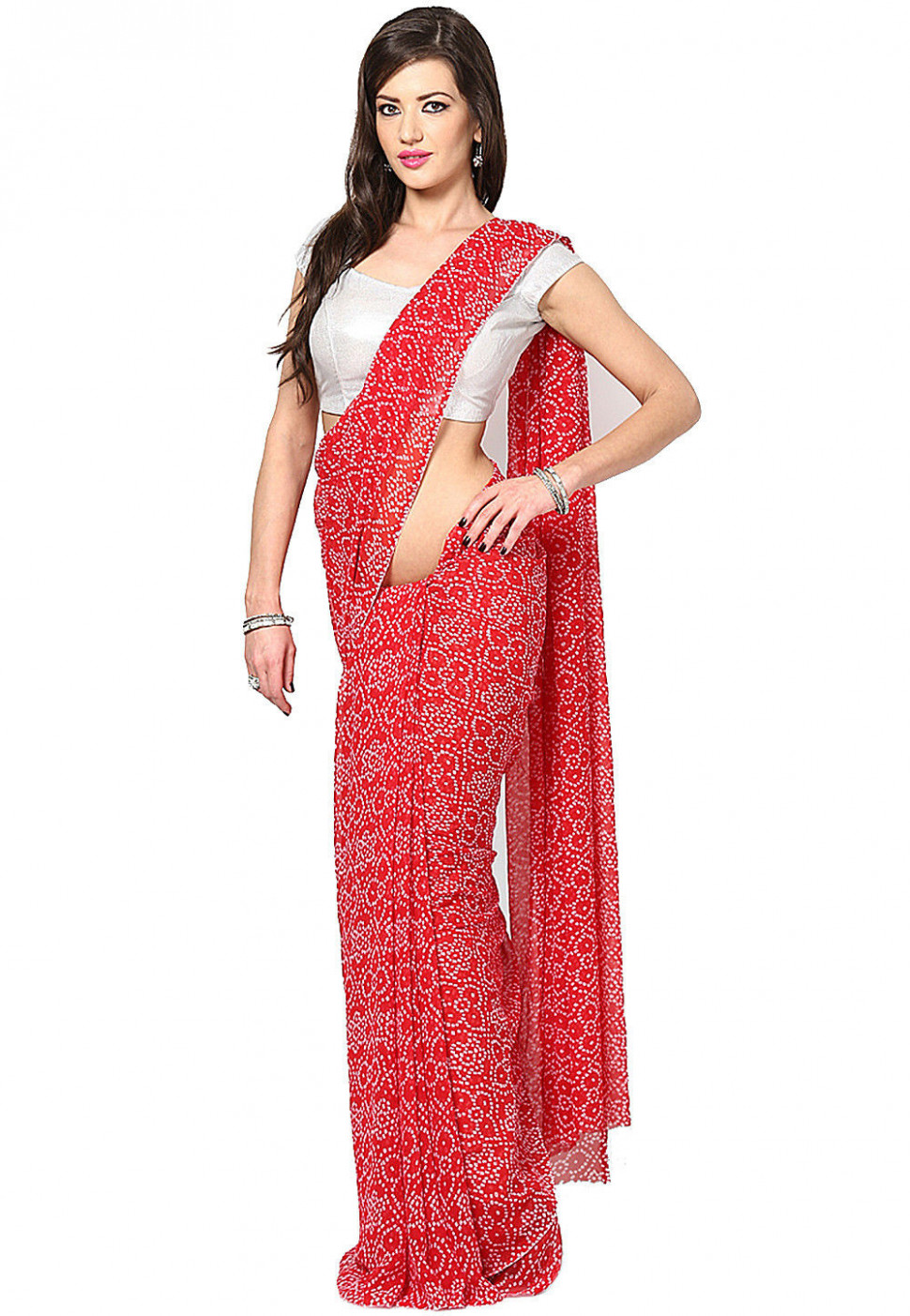 Bandhej Georgette Saree in Red : SUV86