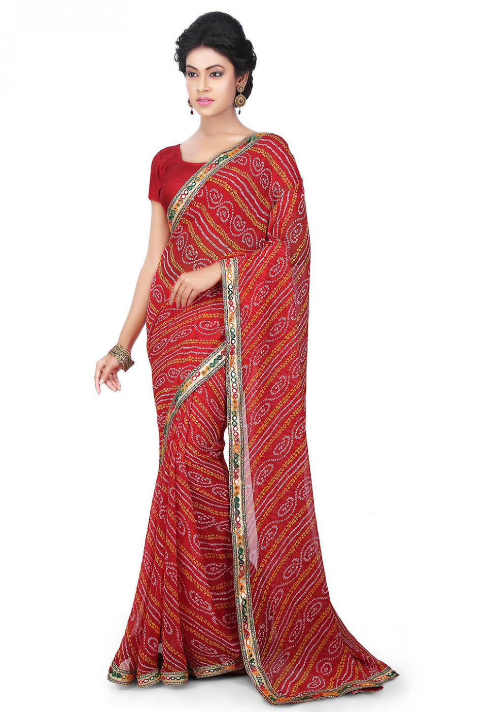 Bandhej Printed Georgette Saree in Red : SJN6925