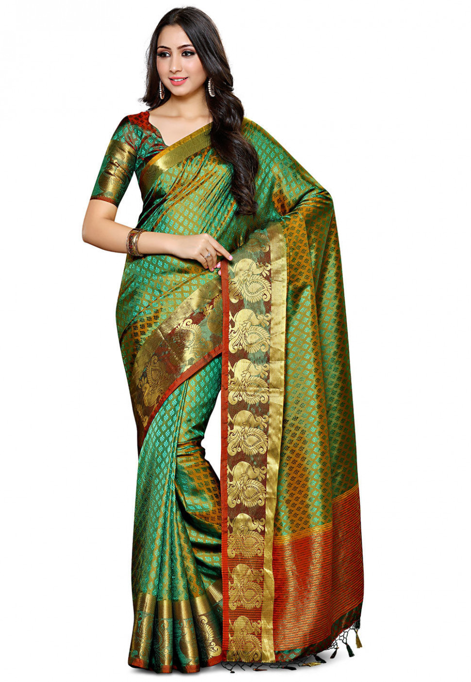 Bangalore Silk Saree in Green : SNGA163