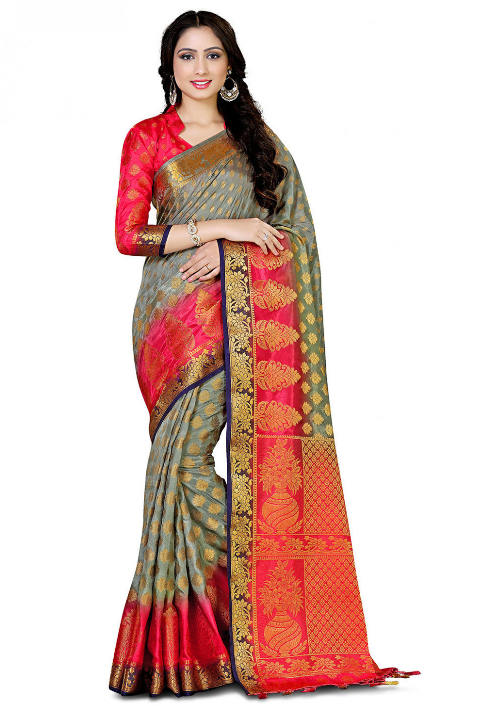 Bangalore Silk Saree in Olive Green : SNGA201