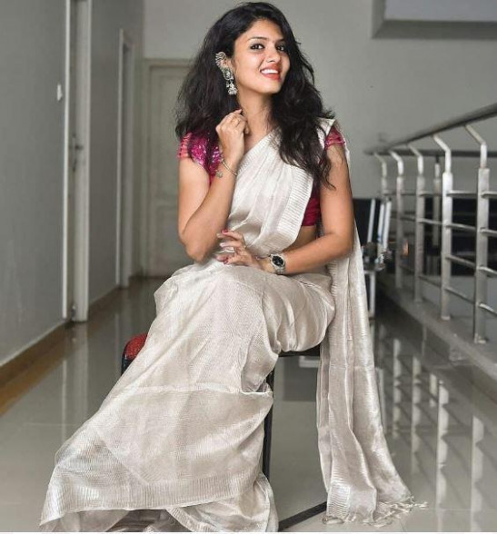 BAST01-Silver tissue linen saree with running blouse