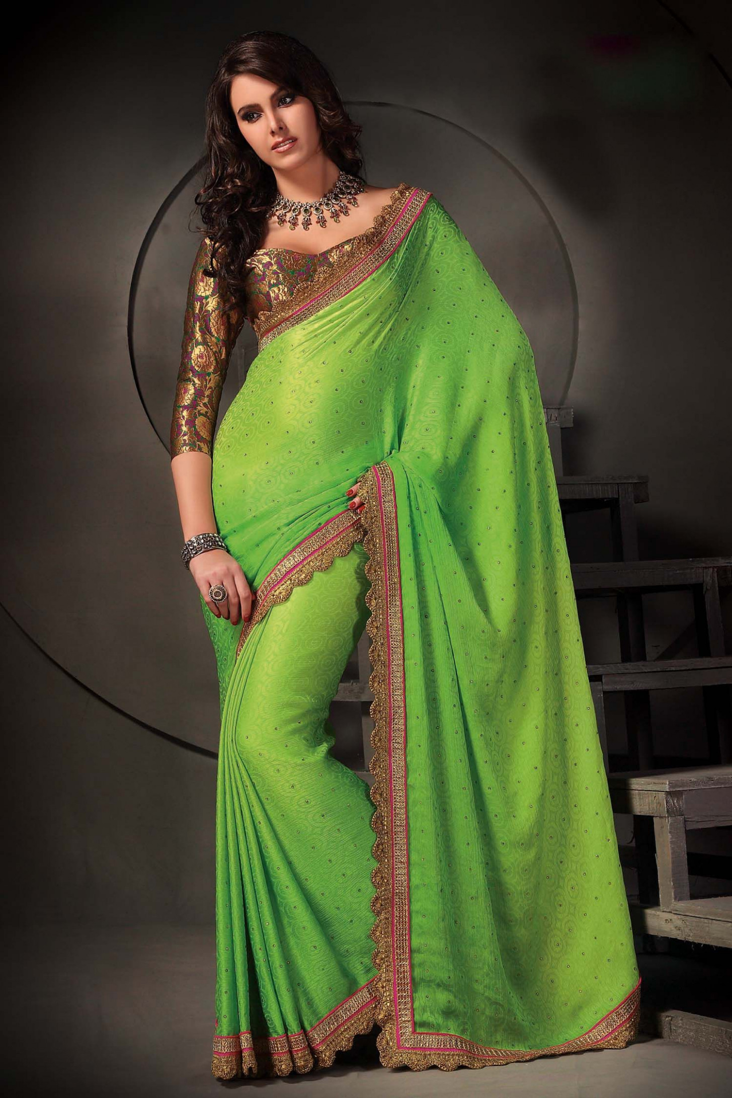 beautiful bright lime green saree with brass accents