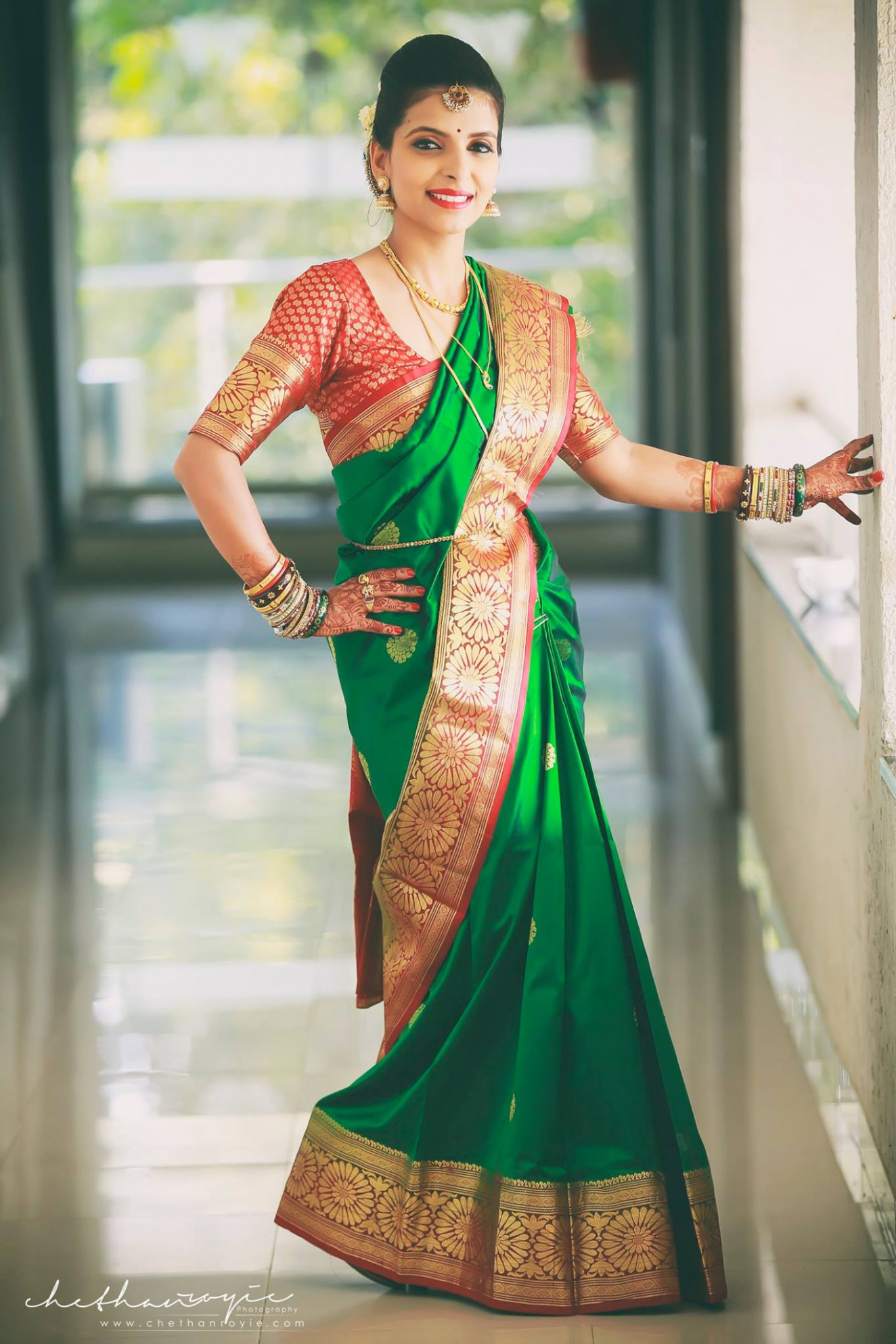 Beautiful Green Bridal Saree