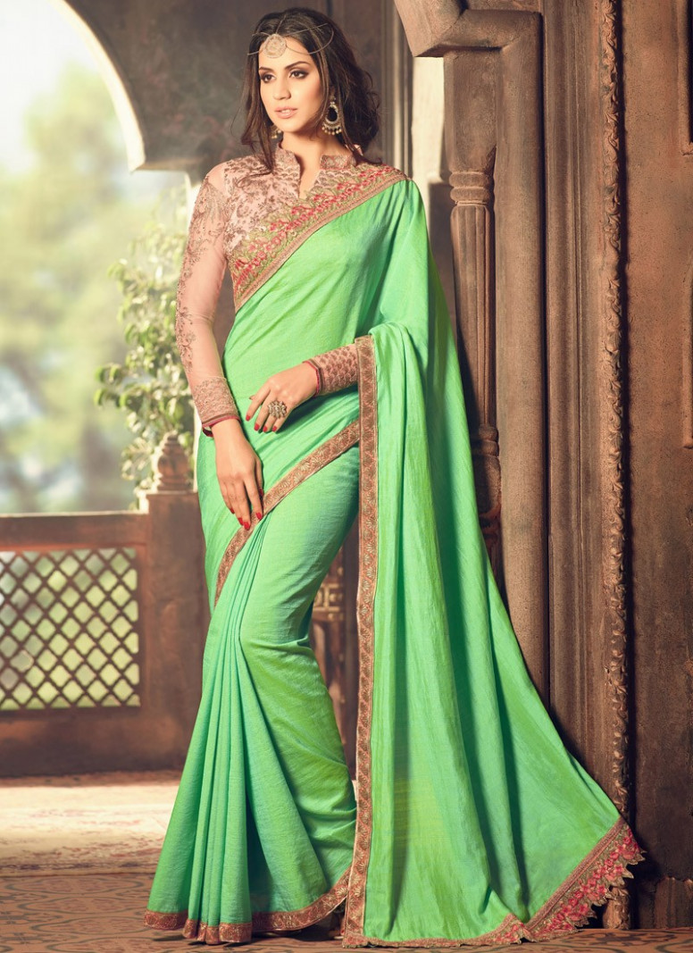 Beautiful Green Color Saree With Contrast Blouse