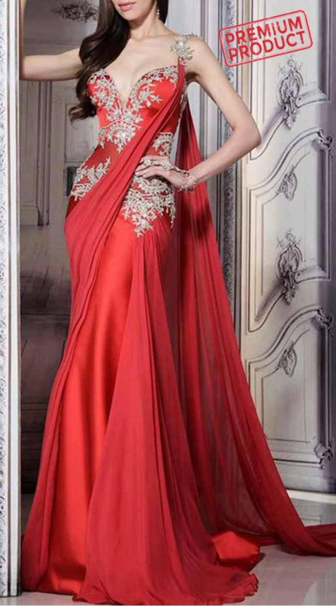 Beautiful Hand Work Red Designer Saree Gown BP1446