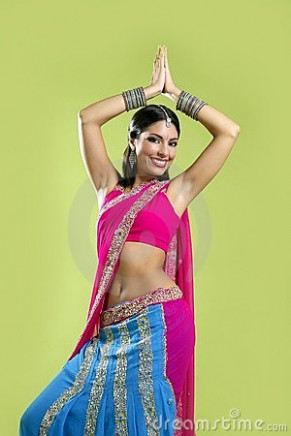 Beautiful Indian Young Brunette Woman Dancing Royalty Free