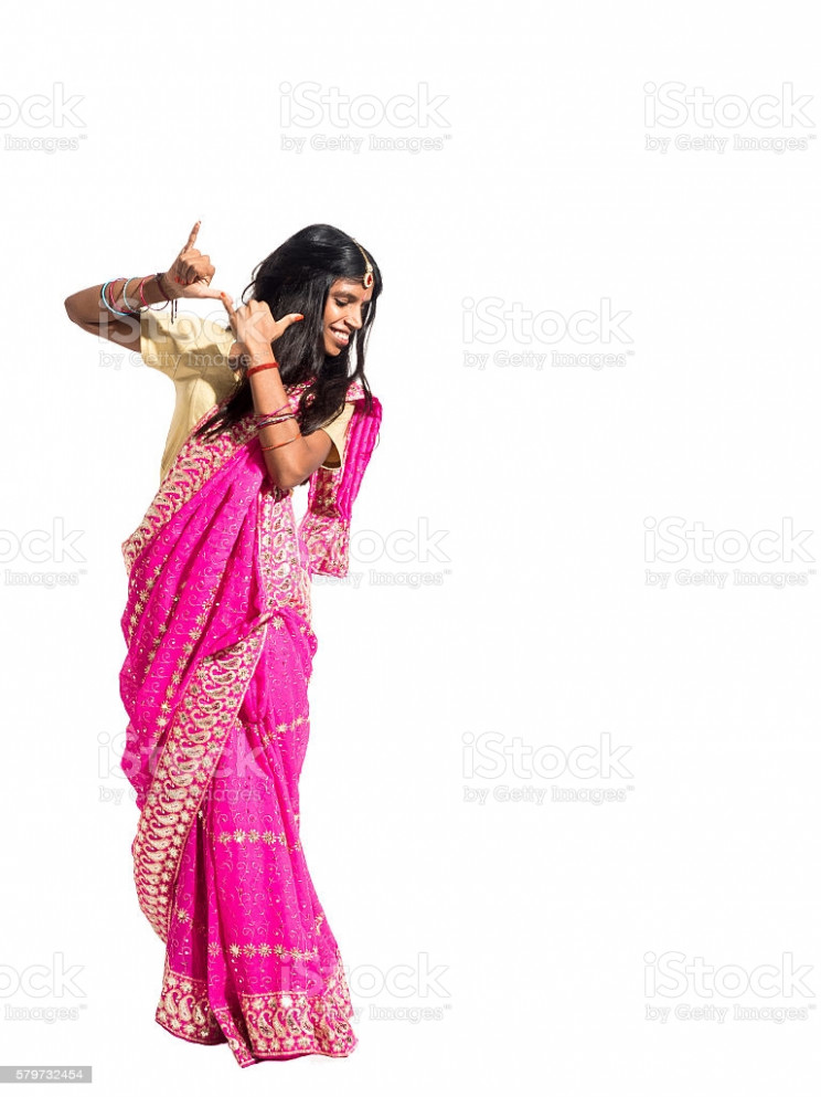 Beautiful Young Indian Woman Dancing Isolated On White