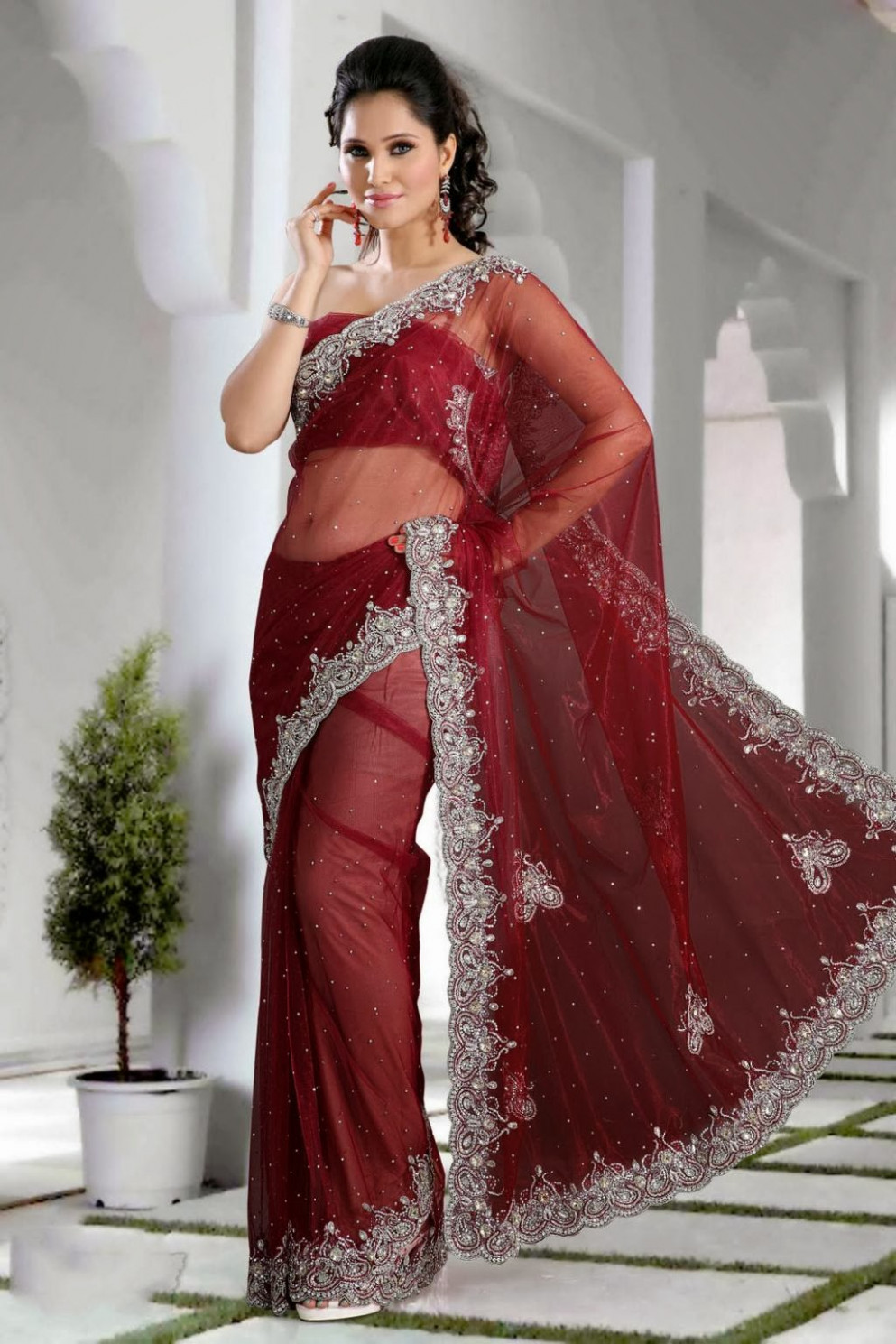 BEAUTY AND FASHION: NET MAROON SAREE