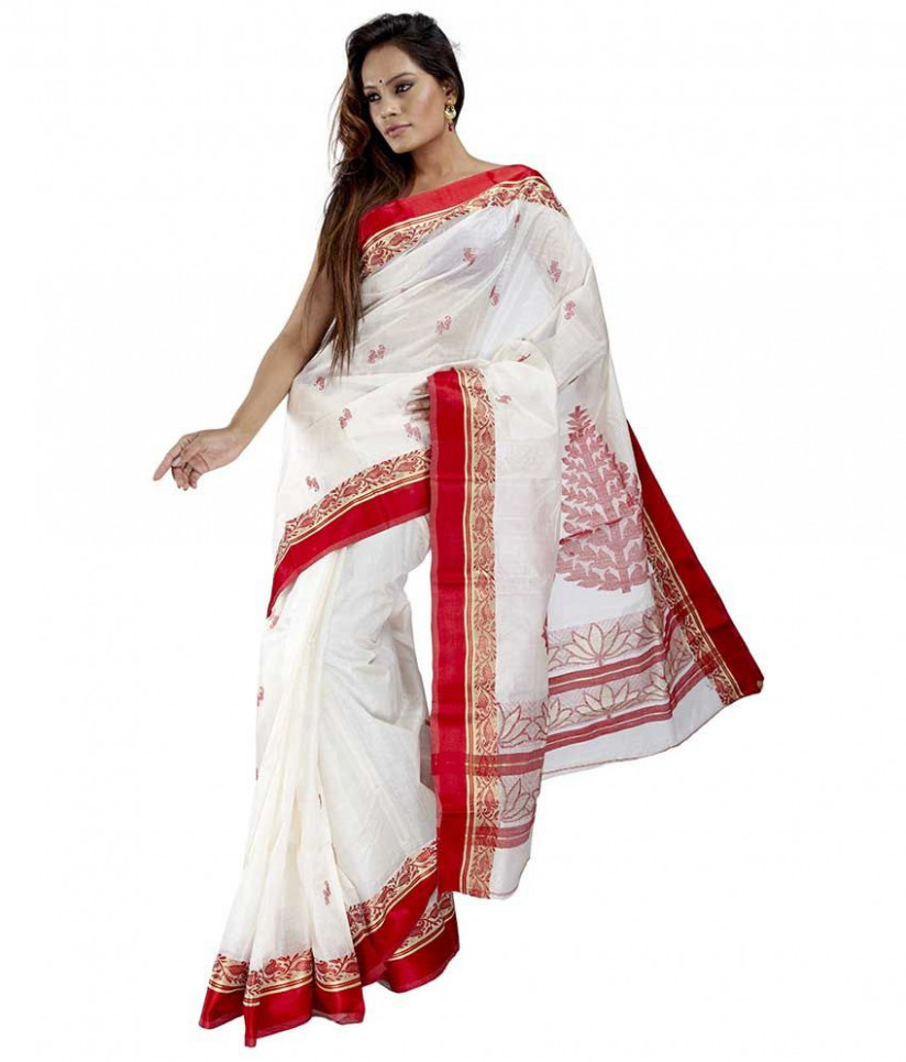 Bengal Handloom  Tant Sarees  Off White and Grey With