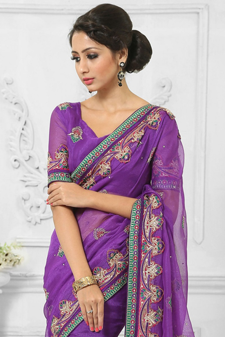 Best seller saree, Purple net saree for diwali, V neck blouse