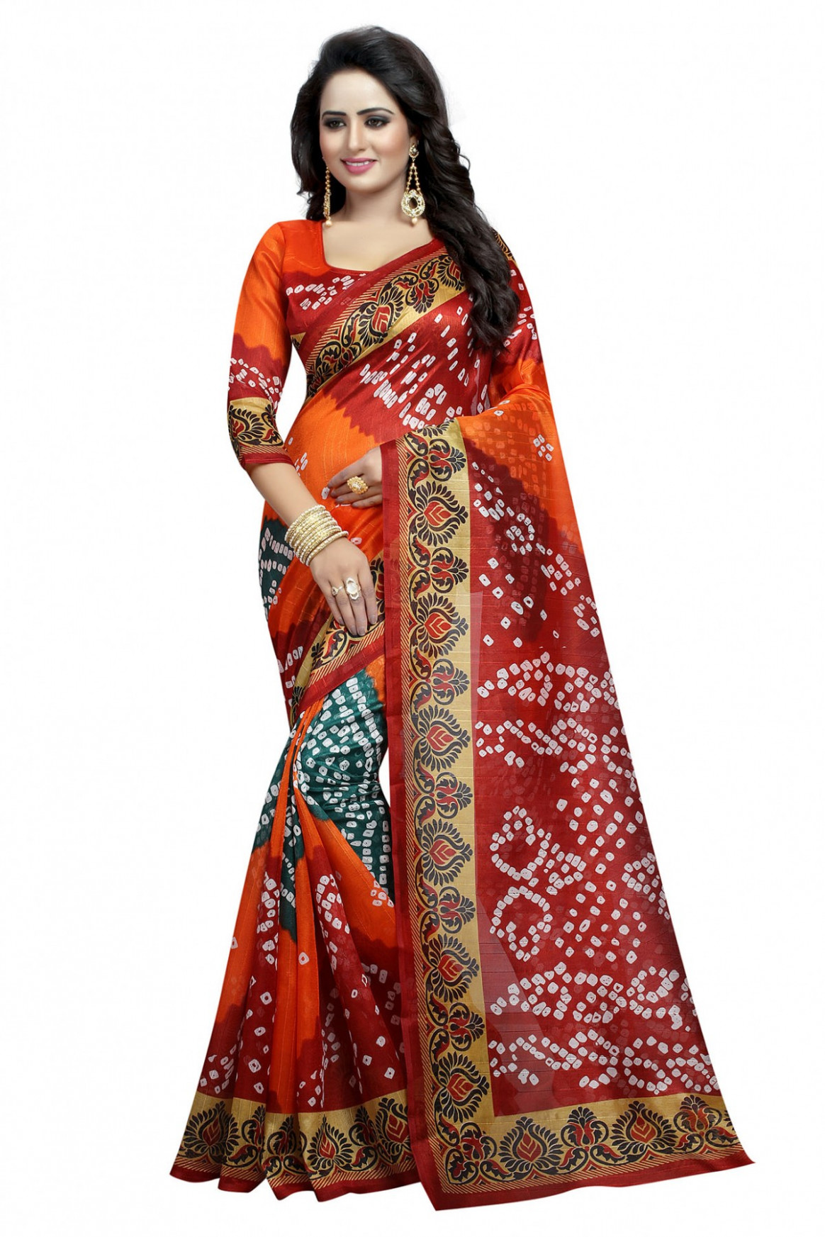 Bhagalpuri Silk Bandhani Sarees In Orange Colour