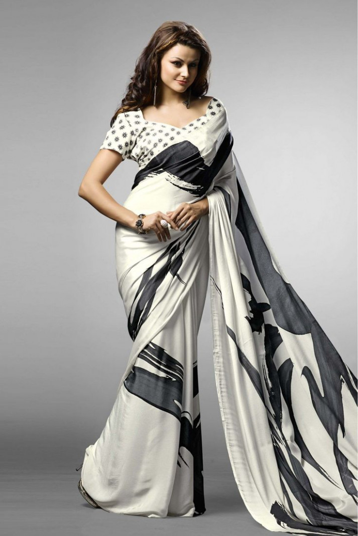 Black and White Casual Wear Printed Saree In Crepe Fabric